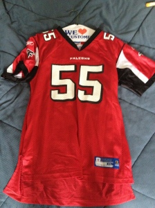 A John Abraham Falcons jersey, on its hangar and heading back to  the closet until the fall.